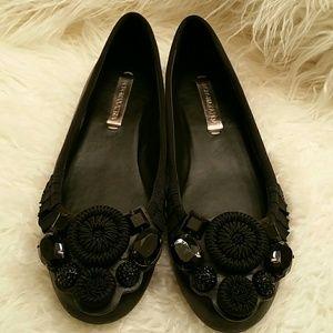 BCBG MAX AZRIA Black Jewel Ballet Flats 7.5